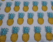 Flannel Fabric - Yellow Pineapple Luxe - By the yard - 70% Rayon, 30 Cotton Luxe Flannel Fabric