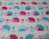 Flannel Fabric - Forest Hedgehog - By the yard - 100% Cotton Flannel