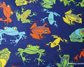 Flannel Fabric - Realistic Frogs on Blue - By the yard - 100% Cotton Flannel