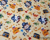 Flannel Fabric - Captain Monkey - By the yard - 100% Cotton Flannel
