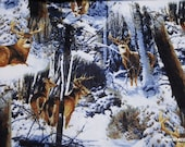 Flannel Fabric - Realistic Deer in Snow - By the yard - 100% Cotton Flannel