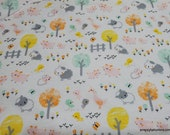 Flannel Fabric - Barnyard Animals on White - By the yard - 100% Cotton Flannel