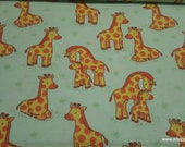 Flannel Fabric - Baby and Momma Giraffes - By the yard - 100% Cotton Flannel