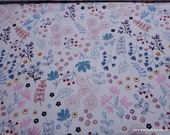 Flannel Fabric - Bear and Friends Wildflowers on White - By the Yard - 100% Cotton Flannel