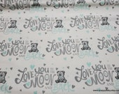 Flannel Fabric - Moon and Back Aqua - By the yard - 100% Cotton Flannel