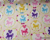 Premium Flannel Fabric - Sweet Horse Carousel Cream - By the yard - 100% Cotton Flannel