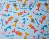 Flannel Fabric - Purrmaid - By the yard - 100% Cotton Flannel