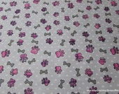 Flannel Fabric - Pink Plaid Paw Prints and Bones - By the yard - 100% Cotton Flannel