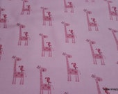 Flannel Fabric - Giraffe Pink - By the yard - 100% Cotton Flannel