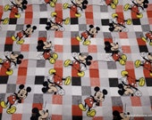 Character Flannel Fabric - Disney Mickey Mouse Plaid - By the yard - 100% Cotton Flannel