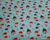 Flannel Fabric - Cozy Little Piggies Blue - By the yard - 100% Cotton Flannel