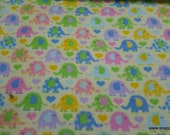 Flannel Fabric - Elephants on Yellow - By the yard - 100% Cotton Flannel