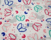 Flannel Fabric - Polka Dot Butterflies - By the yard - 100% Cotton Flannel