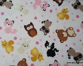 Flannel Fabric - Cute Woodland Friends - By the yard - 100% Cotton Flannel