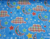Flannel Fabric - Dot Moon Blue - By the yard - 100% Cotton Flannel