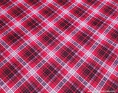 Flannel Fabric - Kate Red Gray Plaid - By the yard - 100% Cotton Flannel