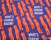 Flannel Fabric - What's Shakin Bacon - By the yard - 100% Cotton Flannel