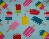 Flannel Fabric - Summer Popsicles - By the yard - 100% Cotton Flannel