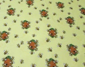 Flannel Fabric - Bees and Hives on Yellow - By the yard - 100% Cotton Flannel