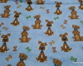 Flannel Fabric - Dogs and Bones Blue - By the yard - 100% Cotton Flannel