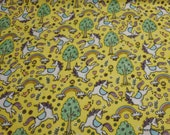 Flannel Fabric - Unicorn Meadow Yellow - By the yard - 100% Cotton Flannel