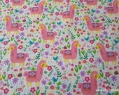 Flannel Fabric - Pastel Patterned Llamas - By the yard - 100% Cotton Flannel
