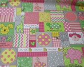 Flannel Fabric - Little One Patch Pink - By the yard - 100% Cotton Flannel
