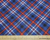 Flannel Fabric - Navy Red Bias Plaid - By the yard - 100% Cotton Flannel