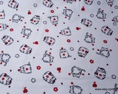 Flannel Fabric - Round Kitties - By the yard - 100% Cotton Flannel