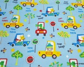 Flannel Fabric - Animals in Cars - By the yard - 100% Cotton Flannel