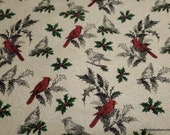 Christmas Flannel Fabric - Cardinals and Holly - By the yard - 100% Cotton Flannel