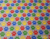 Flannel Fabric - Bright Paw Prints - By the yard - 100% Cotton Flannel