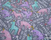 Flannel Fabric - Sparkle Like a Unicorn - By the yard - 100% Cotton Flannel