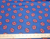 Character Flannel Fabric - Spiderman Logo Toss - By the yard - 100% Cotton Flannel