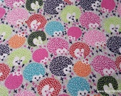 Flannel Fabric - Bright Porcupines - By the yard - 100% Cotton Flannel