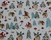 Christmas Flannel Fabric - Holiday Hedgehog - By the yard - 100% Cotton Flannel