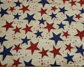 Flannel Fabric - Patriotic Stars on Words - By the yard - 100% Cotton Flannel