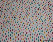 Flannel Fabric - Raindrops Pink Yellow Teal - By the yard - 100% Cotton Flannel