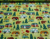 Flannel Fabric - Forest Friend Camping - By the yard - 100% Cotton Flannel