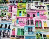 Flannel Fabric - Watercolor Houses - By the yard - 100% Cotton Flannel