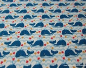 Flannel Fabric - Sea Waves and Whales - By the yard - 100% Cotton Flannel
