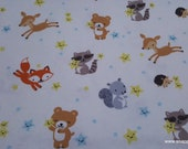 Flannel Fabric - Happy Stars Animals - By the yard - 100% Cotton Flannel