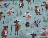 Flannel Fabric - Woodland Animal Campers - By the yard - 100% Cotton Flannel