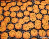 Flannel Fabric - Slam Dunk Basketballs - By the yard - 100% Cotton Flannel