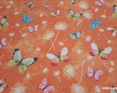 Flannel Fabric - Butterflies on Coral - By the yard - 100% Cotton Flannel