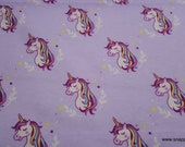 Flannel Fabric - Unicorns Lavender - By the yard - 100% Cotton Flannel