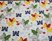 Flannel Fabric - Dragons and Castles - By the yard - 100% Cotton Flannel