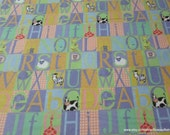 Flannel Fabric - Alphabet in Squares - By the yard - 100% Cotton Flannel