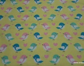 Flannel Fabric - Birds on Yellow - By the yard - 100% Cotton Flannel