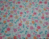 Flannel Fabric - Coral Blue Floral Mix - By the yard - 100% Cotton Flannel